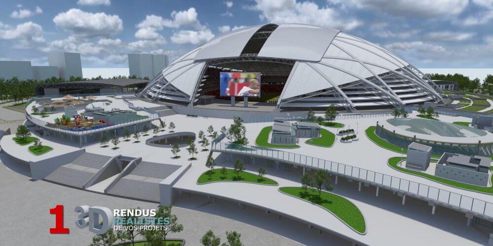 maquette rendu réaliste 3D stade