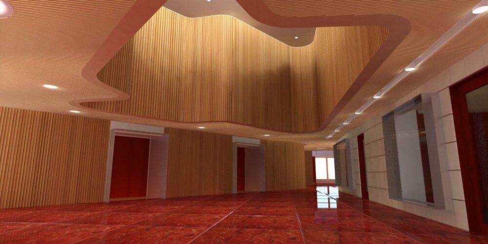 rendu réaliste 3B BIM intérieur sol rouge et mur en bois
