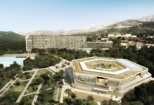 vue aérienne d'une modélisation d'un bâtiment