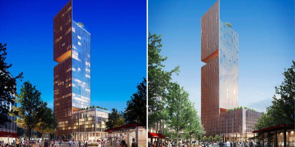 version jour et nuit modélisation d'un bâtiment
