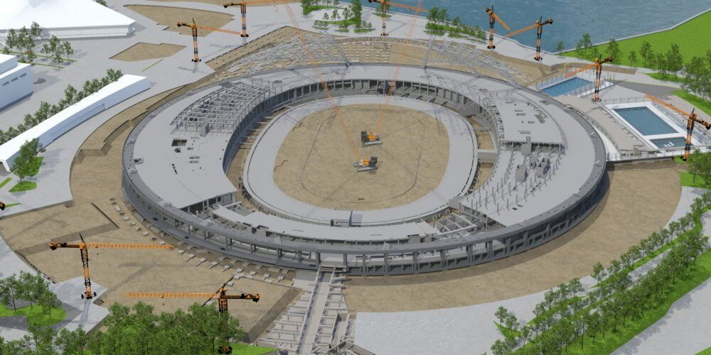 rendu réaliste 3D de la construction d'un stade