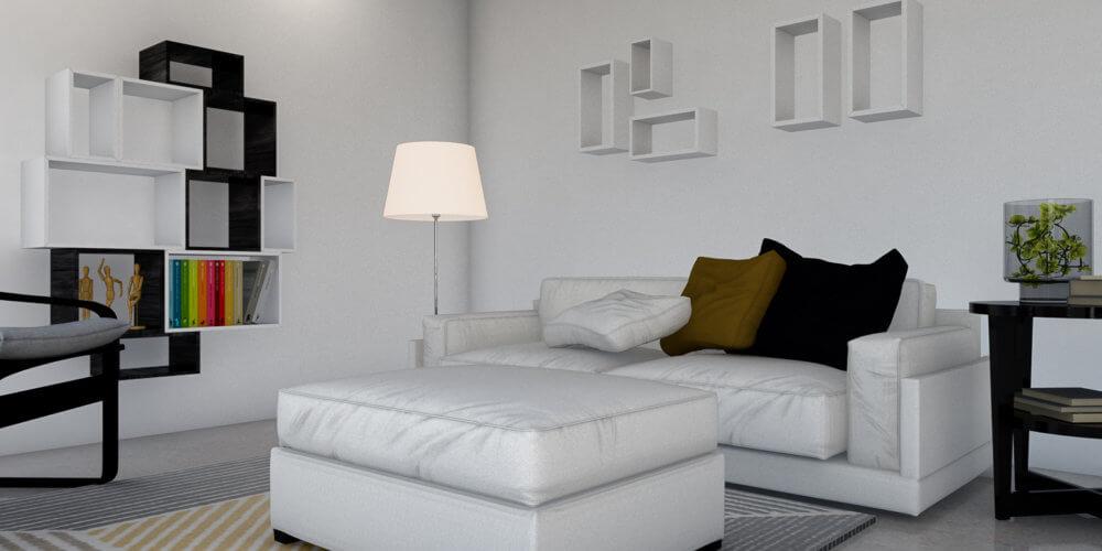 maquette 3D d'un salon avec un canapé blanc et des meubles noirs